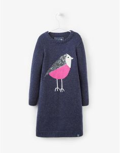 JNR MILLICENT Girls Bird Intarsia Knitted Dress
