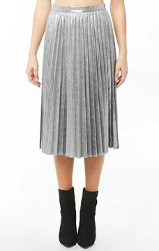 d99da3e10587 Distressed Metallic Accordion-Pleat Skirt