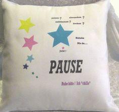 Kissen PAUSE - Sterne etc - 2 Teile -  von ღKreawusel-Designღ auf DaWanda.com