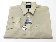 Stafford 19 34-35 Broadcloth Tan Wrinkle Free Super Shirt Scotchgard Tan NEW NWT #Stafford