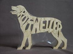 Rottweiler Dog Wooden Puzzle Hand  Cut Scroll Saw Toy by Puzzimals, $12.00