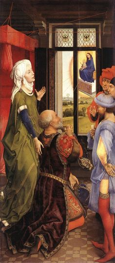 Rogier van der Weyden 1399/1400 – 1464, The Appereance of Mary before Augustus, ca. 1445-48, the left wing of the Bladelin triptych. The scene is not biblical but comes from a medieval story, where the Roman emperor Augustus sees an altar with Mary hovering in the sky. The kneeling man is Augustus, dressed in rich clothes.