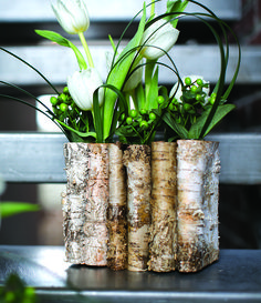 Folded birch container for a rustic, woodsy centerpiece idea