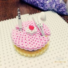 Cake earbud holder perler beads by mi_ho0206