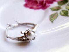 Petite Pearl Twig Ring in Sterling Silver - Cast From a Real Twig - made to order