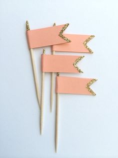 Coral & Gold Glitter Cupcake Topper.  Wedding, Engagement, Birthday Parties Cupcake Decor.  Food Pick, Cheese Pick.  Shabby Chic