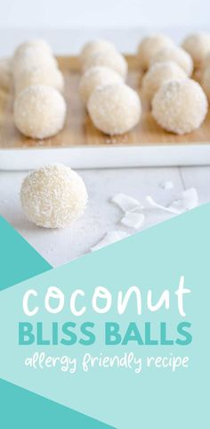 coconut snowballs, easy refined sugar-free bliss ball recipe, an allergy-friendly treat or snack, gluten and dairy-free Cereal Recipes, Baby Food Recipes, Weekly Recipes, Baking Recipes, Sweet Recipes, Easy Recipes, Snack Recipes, Dessert Recipes, Coconut Recipes