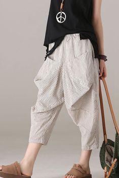 Loose Striped Harem Pants Women Cotton Linen Trouser in 2020 Linen Pants Women, Linen Trousers, Pants For Women, Clothes For Women, Streetwear, Mode Outfits, Fashion Pants, Cotton Linen, Blue Pants