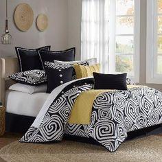 Calypso Comforter Set - Black and White Bedding Set