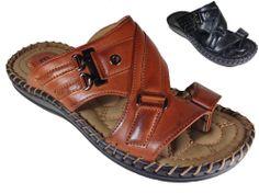 New Men Sandals Slide Open Toe Ring Comfort Causal Black Cognac SAM