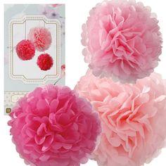 Pink Tissue Paper Pom Poms