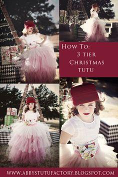 HOW TO: make this uber fluffy 3 TIER Christmas TuTu Diy Tutu Skirt, Tulle Dress, Tulle Skirts, Tutu Dresses, Tutus For Girls, Girls Dresses, Flower Girl Dresses, Party Dresses, Christmas Tutu Dress