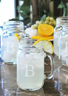 Monogrammed masons that are just perfect for lemonade.