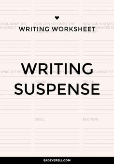 Fill in this worksheet when you're writing suspense & need to keep your reader (and your character) guessing. Creative Writing Tips, Book Writing Tips, Writing Process, Writing Help, Writing Skills, Writing Ideas, Writers Notebook, Writers Write, Writing Worksheets