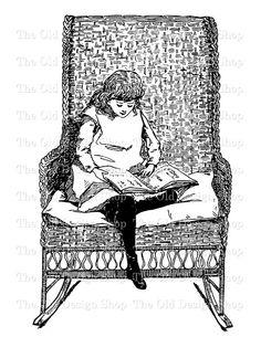 Girl Reading Clip Art Vintage Printable Illustration Graphics Digital Download Transfer Image JPG PNG