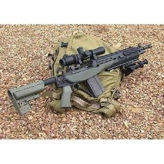 Springfield Armory SOCOM 16 Green and Black. Very slick, voltr stock to complement the quad rail system on the front. Tactical Rifles, Firearms, Shotguns, Sniper Rifles, Battle Rifle, Springfield Armory, Cool Guns, Awesome Guns, Fire Powers