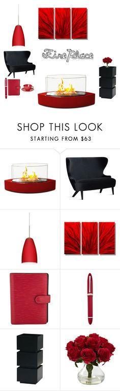 """""""fireplace"""" by eso-so ❤ liked on Polyvore featuring interior, interiors, interior design, home, home decor, interior decorating, Tom Dixon, Besa Lighting, Louis Vuitton and OMAS"""