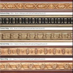 Orion's inlay designs for Design Art wood poles Window Hardware, Drapery Hardware, Gold Leaf, Precious Metals, Window Treatments, Design Art, Embellishments, Windows, Antiques