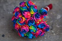 Rainbow paper wedding bouquet.