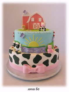 2 tier oval cow print barnyard themed cake by Creative Cake Co. Cow Birthday Parties, Farm Birthday Cakes, Farm Animal Birthday, Cowgirl Birthday, 2nd Birthday, Birthday Ideas, Barnyard Party, Farm Party, Barnyard Cake