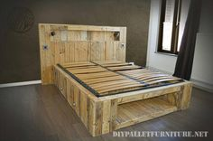 Pallet Bed with Lights and Storage Shelf - Amazing Pallet Furniture Projects for Home Diy Bed, Bed Lights, Bed Furniture, Home Decor, Pallet Bed With Lights, Furniture Projects, Bed Frame And Headboard, Wooden Diy, Pallet Projects Furniture