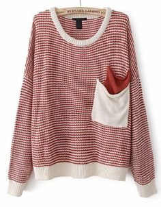 Red Long Sleeve Striped Pockets Knit Sweater