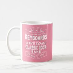 KEYBOARDS awesome classic rock band (wht) Coffee Mug - blue gifts style giftidea diy cyo