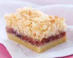 Coconut Jam Slice 1 1/2 cups plain flour 155 grams butter 1/2 cup icing sugar Topping: 1/3 cup caster sugar 2 eggs 2 cups desiccated coconut 1/3 cup jam (raspberry or strawberry or even blackberry)