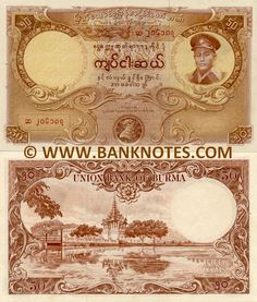 Burma 50 Kyats Front: Portrait of General Aung San and chinthe. Back: Main entrance to Fort Dufferin (Mandalay Fort), the moat and the Royal Palace. Watermark: Portrait of General Aung San. Printer: Thomas De La Rue & Company, Ltd. Airplane Crafts, Burma Myanmar, Spring Racing, Business Checks, Mandalay, Modern History, Burmese, Vintage Photography, Art Drawings