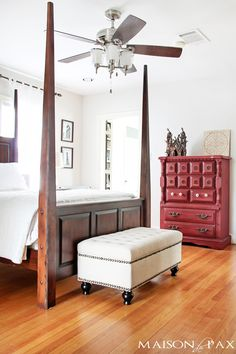 gorgeous neutral bedroom with a single pop of color and tons of great diy ideas | maisondepax.com