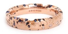 Polly Wales Blue Confetti Ring Rose Gold & Sapphire
