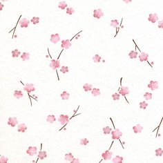 Chiyogami - Scattered Plum Blossoms, Pink on Ivory