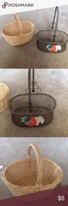 """Set of 2 Small Baskets Set of 2 small baskets. Wicker one is 8"""" long and 7"""" high including handle. Metal one has pumpkin detail and is 7 1/2"""" long and 10"""" high with handle. Other"""