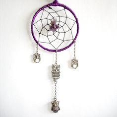 Purple Owl Amethyst Gemstone Dream-Catcher With Silver Owl Charms Fantasy Night Bird of Wisdom Style Hand Crafted