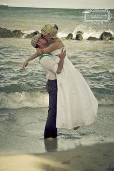 Hawaii Beach Wedding #oahu #hawaii #military #beach #wedding #romance #kiss #photography