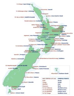 New Zealand place names in Maori Waitangi Day, Maori Words, Map Of New Zealand, New Zealand Landscape, Maori Designs, Maori Art, Kiwiana, Place Names, Childhood Education