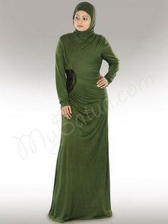 "Beautiful Henna Green Party Wear Abaya| MyBatua.com : Zahirah Jersey Abaya! Style No: Ay-275 Shopping Link : http://www.mybatua.com/zahirah-jersey-henna-green-abaya Available Sizes XS to 7XL (size chart: http://www.mybatua.com/size-chart/#ABAYA/JILBAB) • ""V"" neck • One side pleated yoke and gathers on other side of shoulder • Flower lace patch on waist side with gathers • Straight Sleeves • Matching Ready Hijab and band can be bought Separately • Co"