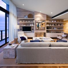 Ace Modern White Fabric Slipcovers Sectional Sofa Added White Ceiling To Floor For Wide Glass Windows Treatments As Well As Built In Living Room Shelves With Slanting Ceiling Lighting Ideas