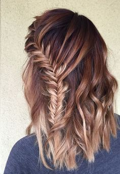 violet to copper to blonde balayage color melt with boho fishtail braid and beach waves