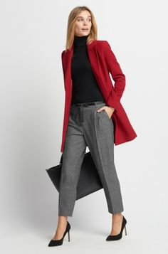 Stoffhose mit Stoffgürtel | ORSAY Simple Casual Outfits, Classy Outfits, Chic Outfits, Beautiful Outfits, Trendy Outfits, Fashion Outfits, Outfit Formal Mujer, Red Blazer Outfit, Look Office