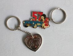 Betty boop keychains vintage Betty boop key chains 57' Chevy and silver Betty boop face collectable keychains small retro 57 car Betty boop by SweetBraceDesign on Etsy
