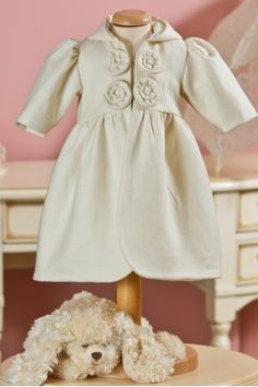 Elegant coat, in a beautiful ivory color, with shell shaped applications, can be an extraordinary match for many of the Petite Coco dresses. Baby Christening, Winter Collection, Cosy, Shell, Flower Girl Dresses, Elegant, Nice, Wedding Dresses, Fabric