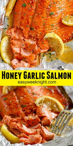 Honey Garlic Salmon in Foil - foil-baked salmon with honey garlic sauce The salmon is so yummy and takes only 10 mins active time dinner salmon dinner Seared Salmon Recipes, Healthy Salmon Recipes, Seafood Recipes, Dinner Recipes, Oven Salmon Recipes, Lunch Recipes, Honey Baked Salmon, Garlic Salmon, Salmon Marinade Baked