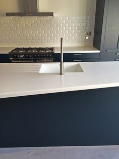 Blue Rational kitchen units with a Corian arctic ice worktop and stainless steel fittings and appliances