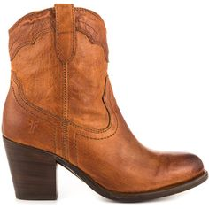 Frye Shoes Women's Tabitha Pull On Short 77938 - Cognac ($302) ❤ liked on Polyvore featuring shoes, boots, ankle booties, brown, cowboy boots, brown leather ankle booties, brown leather booties, frye boots and short boots