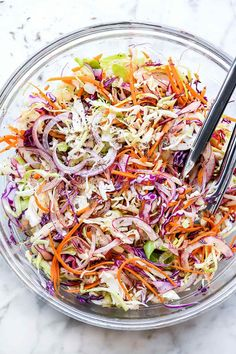 Sweet Vinegar Coleslaw (No Mayo) | foodiecrush .com