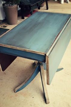 Love this table painted with Aubusson Blue and a dark wax @Chris Cote Myall Nikkie Roth you guys could something like this to your table