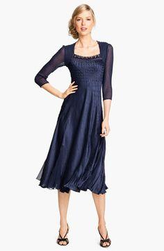 Mother of Bride/Groom dress - Komarov Sheer Sleeve Textured Charmeuse Dress   Nordstrom