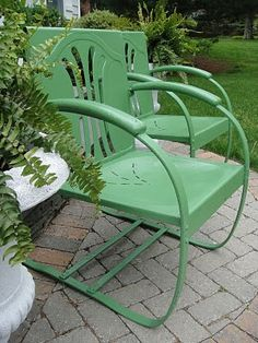 Patio - I've got one rocker similar to these vintage chairs but with chippy paint. Just need to find another and paint (note* Krylon in John Deer Green)