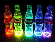 Rainbow coke bottles